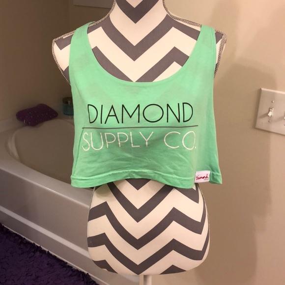 Diamond supply co lime green crop tank
